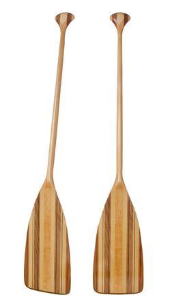 fibra de vidrio: madera (aliso basswood, nogal blanco y rojo)) canoa crucero paddle con eje doblado y reforzado con fibra de vidrio, aislados en blanco, dos vistas de la punta Foto de archivo