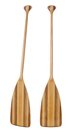 wooden (basswood, butternut and red alder)) cruising canoe paddle with bent shaft and tip reinforced with fiberglass, isolated on white, two views photo