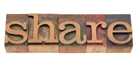 share word in vintage wood letterpress printing blocks, stained by color inks, isolated on white Stock Photo - 8908229