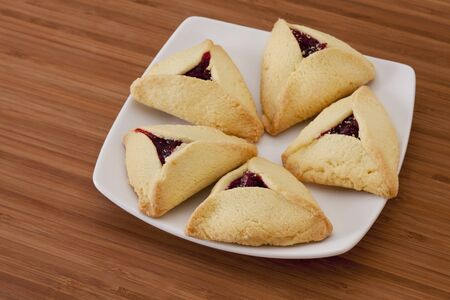 hamantash: strawberry hamantaschen cookies - a traditional pastry in Ashkenazi Jewish cuisine for holiday of Purim