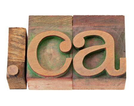 dot ca - internet domain for Canada in vintage wooden letterpress printing blocks, stained by color inks, isolated on white Imagens