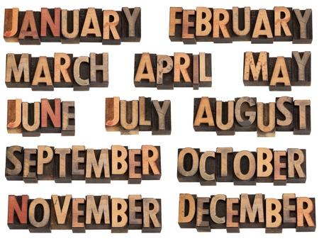 januar: 12 Monate des Jahres von Januar bis Dezember im Vintage Holz Buchdruck Druckst�cke, isoliert auf weiss Lizenzfreie Bilder