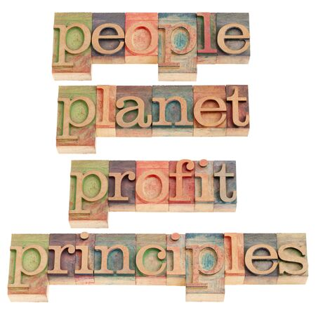 sustainable business concept - people, planet, profit, principles words in vintage wood letterpress printing blocks, isolated on white Archivio Fotografico
