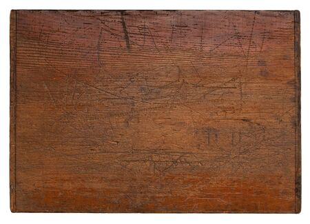 old wooden board with deep scratches, grain texture and a lot of character, isolate don white Stock fotó