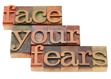 face your fears phrase in vintage wood letterpress printing blocks, isolated on white Banco de Imagens