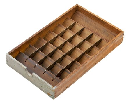 vintage letterpress matrix sort box, wood with metal dividers and bins, isolated on white - sorting or classifying concept Banco de Imagens