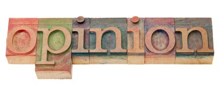 woodtype: opinion  word  in vintage wood letterpress printing blocks, isolated on white