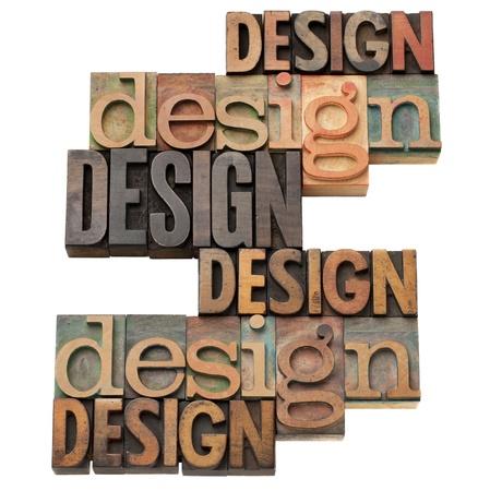grafica: Dise�o palabra collage en bloques de impresi�n tipogr�fica cosecha de madera, aislados en blanco, variedad de fuentes Foto de archivo