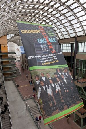 DENVER, USA, April 3, 2011. The Denver Center for Performing Arts - a covered public passage with advertising banners for Colorado Children Chorale and Colorado Ballet. Denver, Colorado, April 3, 2011.