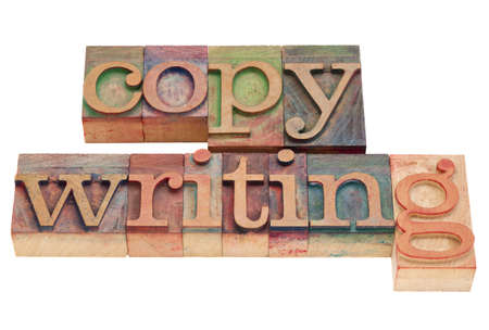 copywriting word in vintage wood letterpress printing blocks, isolated on white