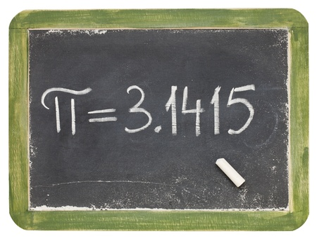 mathematics concept - the number pi on a small slate blackboard, isolated on white Stock Photo - 9321340