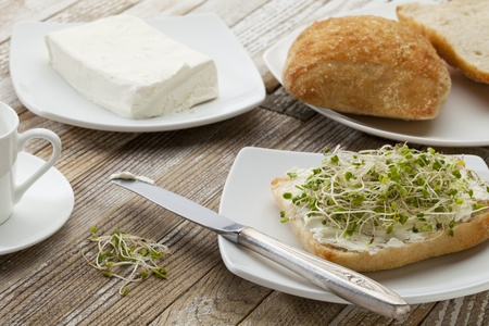 healthy breakfast concept - a roll with cream cheese and broccoli sprouts on a rustic wooden table Stock Photo - 9335152