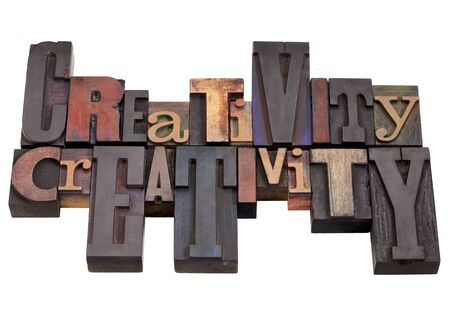 creativity word abstract in vintage wood letterpress printing blocks, different sizes and styles, isolated on white