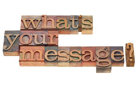 message: what is your message question in vintage wood letterpress printing blocks, isolated on white