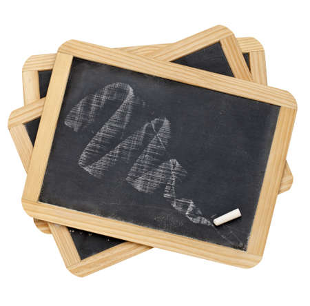 stack of three slate blackboard with white chalk texture, isolated photo