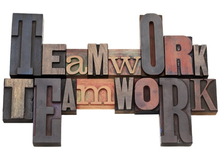 letterpress blocks: teamwork - isolated word abstract in vintage wood letterpress printing blocks