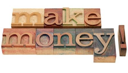 make money - isolated phrase in vintage wood letterpress printing blocks