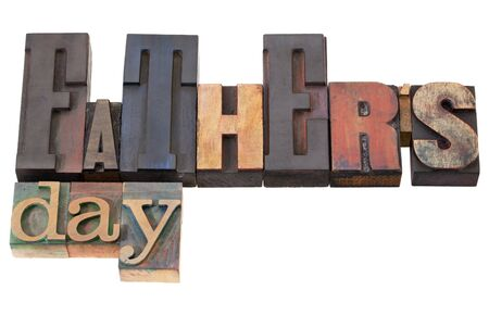 father's day in antique wood letterpress printing blocks isolated on white Stock Photo - 9441812
