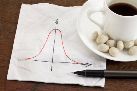 frequency: Gaussian (bell) curve or normal distribution graph on white napkin with coffee cup and snack on wood table Stock Photo