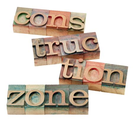 construction zone -  isolated word abstract in vintage wood letterpress printing blocks Stock Photo - 9441828