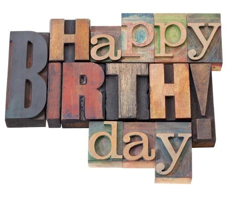 auguri di buon compleanno: Buon compleanno in stampa tipografica legno antico, stampa blocchi, isolate on white Archivio Fotografico