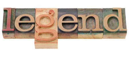vintage wood printing blocks spelling word legend, isolated on white Stock Photo - 9441829