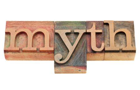 vintage wood printing blocks spelling word myth, isolated on white Stock Photo - 9441827