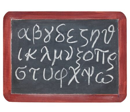 alpha: Greek alphabet from alpha to omega - white chalk handwriting on a small slate blackboard
