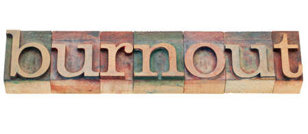 burnout: burnout - isolated word in vintage wood letterpress printing blocks