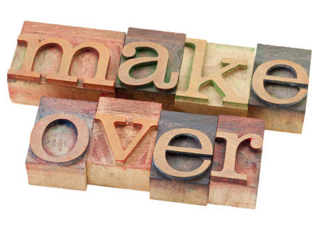 makeover - isolated word in vintage wood letterpress printing blocks Stock Photo - 9467407