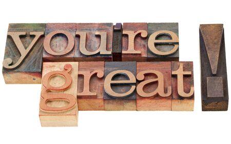 당신은 위대한 칭찬 - 빈티지 나무 활자 인쇄 블록에서 고립 된 단어입니다
