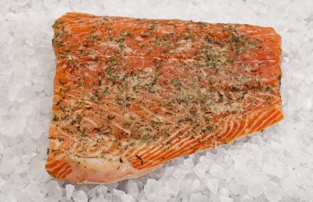 a fillet of raw Norwegian salmon, seasoned with lemon juice and thyme, ready to bake on rock salt Stock Photo - 9468730
