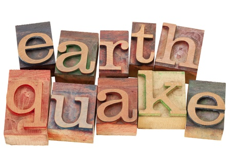earthquake - isolated word in vintage wood letterpress printing blocks Stock Photo - 9503944