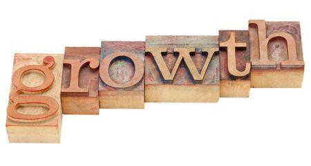 拡大: ビンテージ木製活版印刷ブロックで分離された成長の単語 写真素材