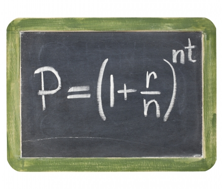 white interest rate: compound interest equation - white chalk handwriting on a small slate blackboard, isolated with clipping path
