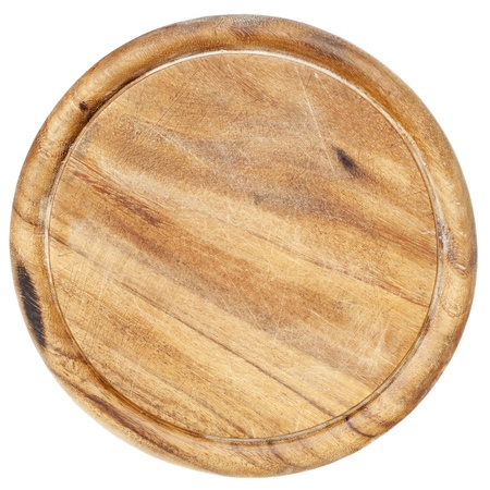 old wood  round cutting board with scratches and texture, isolated on white Stock Photo - 9552644