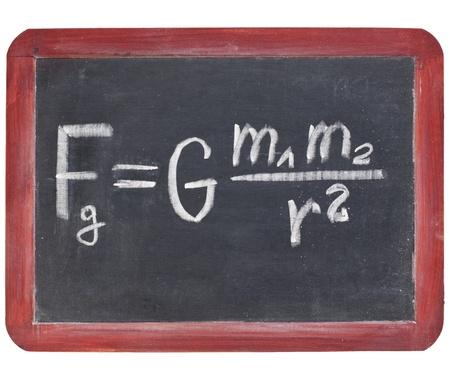 physics education concept - Newton gravity law on a small slate blackboard Stok Fotoğraf