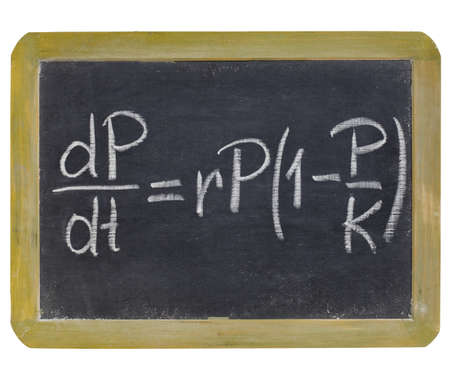 population growth: population growth equation - white chalk writing on a small slate blackboard, isolated