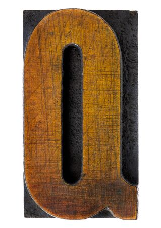 letterpress type: letter Q - vintage wood letterpress printing block, scratched, stained by ink, isolated on white