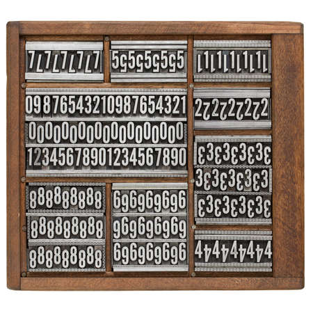 typesetter: numbers and ornaments - vintage metal printing blocks in wood retro typesetter box, isolated on white