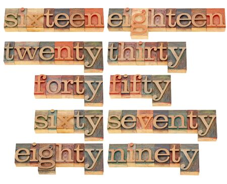 birthday or anniversary numbers from sixteen to ninety - isolated words in vintage wood letterpress printing blocks