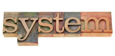 system - isolated word in vintage wood letterpress printing blocks