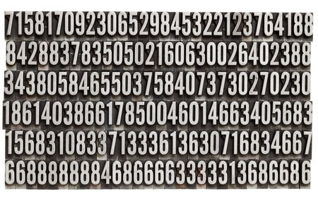 random numbers in vintage grunge metal letterpress printing blocks, isolated on white Stock Photo - 9669338