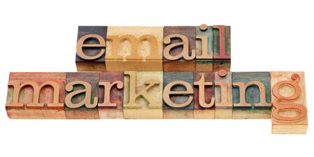email: email marketing - isolated text in vintage wood printing blocks Stock Photo