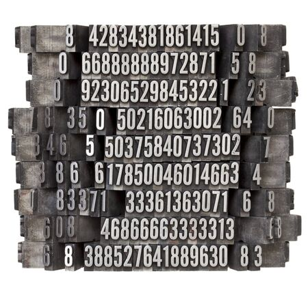 random numbers in vintage grunge metal letterpress printing blocks, isolated on white photo