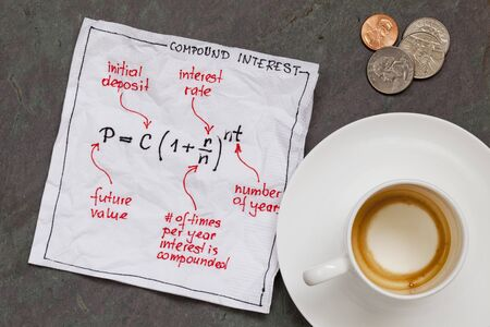 compound: compound interest equation on a cocktail napkin with empty coffee cup and coins on a slate stone table