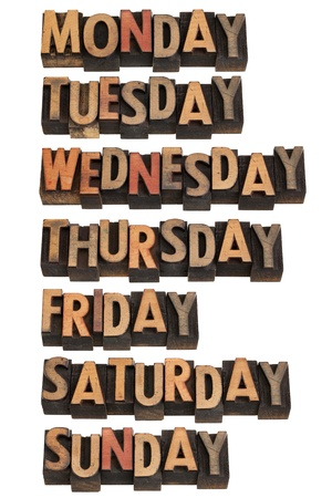 letterpress words: 7 days of week from Monday to Sunday in vintage wood letterpress printing blocks, isolated on white Stock Photo