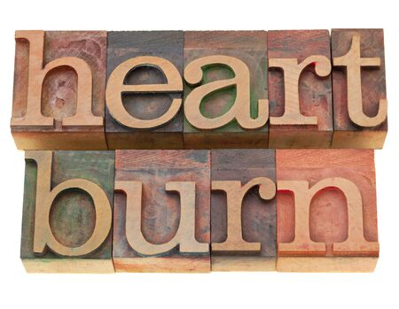 heartburn: heartburn - isolated word in vintage wood letterpress printing blocks