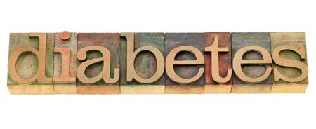 diabetes  - health problem - isolated word in vintage wood letterpress printing blocks Stock Photo - 9739589