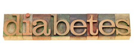 diabetes  - health problem - isolated word in vintage wood letterpress printing blocks